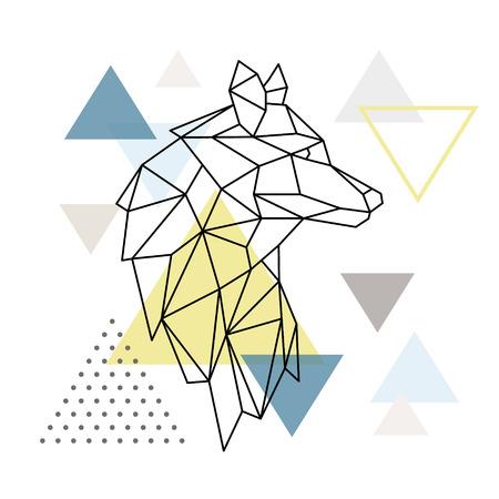 Illustration pour Geometric Wolf silhouette on triangle background. Polygonal Wolf emblem. Vector illustration. - image libre de droit