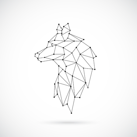 Illustration pour Geometric Wolf silhouette. Image of Lion in the form of constellation. Vector illustration. - image libre de droit