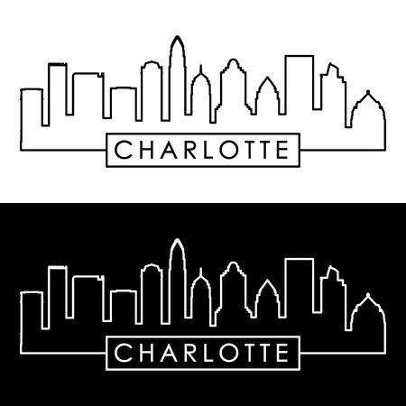 Illustration pour Charlotte skyline. Linear style. Editable vector file. - image libre de droit