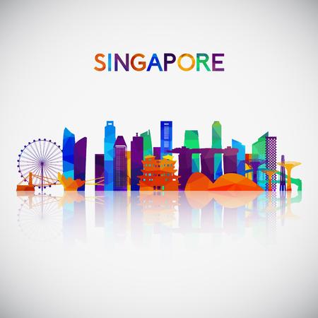 Illustration pour Singapore skyline silhouette in colorful geometric style. Symbol for your design. Vector illustration. - image libre de droit