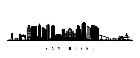 Illustration pour San Diego city skyline horizontal banner. Black and white silhouette of San Diego city, USA. Vector template for your design. - image libre de droit