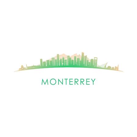 Illustration pour Monterrey skyline silhouette. Vector design colorful illustration. - image libre de droit