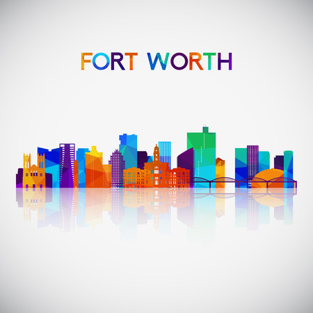 Illustration pour Fort Worth skyline silhouette in colorful geometric style. Symbol for your design. - image libre de droit