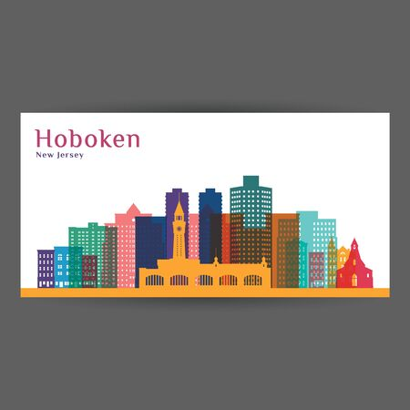 Illustration pour Hoboken city, New Jersey architecture silhouette. Colorful skyline. City flat design. Vector business card. - image libre de droit