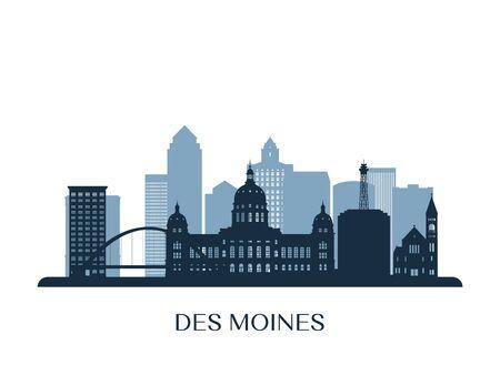 Illustration pour Des moines skyline, monochrome silhouette. Vector illustration. - image libre de droit
