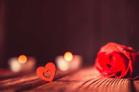 Photo pour Valentines day background with rose, candles - image libre de droit