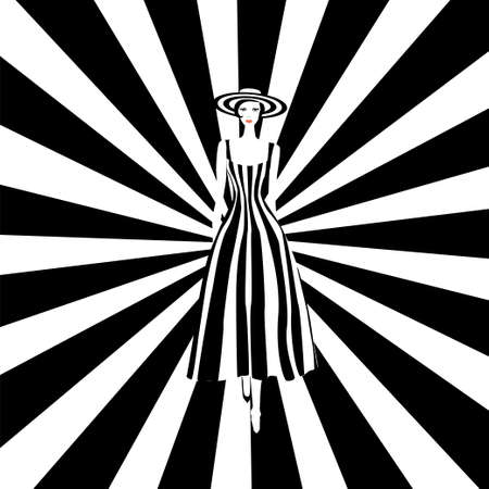 Ilustración de Fashion model in black and white striped dress. Stock vector illustration of fashionable woman in glamour vogue style. - Imagen libre de derechos