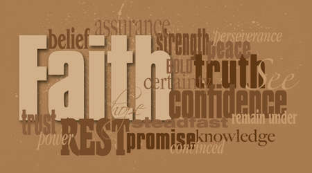 Photo pour Graphic typographic montage illustration of the Christian word Faith composed of associated words and concepts. An inspirational contemporary design. - image libre de droit