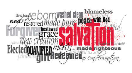 Photo for Graphic typographic montage illustration of the Christian concept of Salvation composed of associated words and defining words. A smatter of red blood conveys the cost of the Biblical forgiveness of sins. An inspirational, uplifting contemporary design. - Royalty Free Image