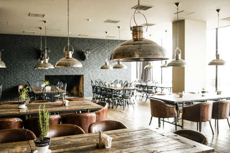 Photo for Interior of modern restaurant. Picture toned in retro style - Royalty Free Image