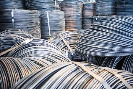 Photo pour Rolls of aluminum metal fittings (steel armature). Heavy industry production - image libre de droit