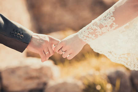 Photo pour Bride and groom holding his hands - image libre de droit