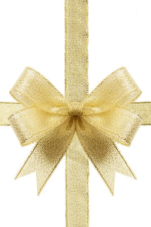 Golden gift bow. Ribbon. Isolated on white