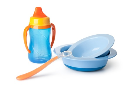 baby tableware on a white background