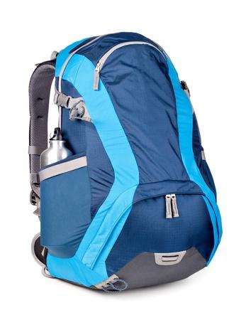 Foto de blue backpack, isolated over white. - Imagen libre de derechos