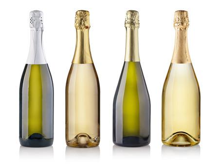 Foto de Set of champagne bottles. isolated on white background - Imagen libre de derechos