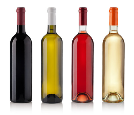 Foto de Set of white, rose, and red wine bottles. isolated on white background - Imagen libre de derechos