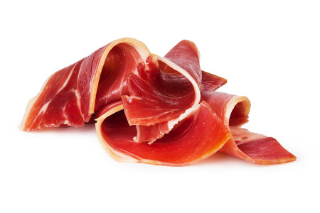 Photo for sliced prosciutto on a white background - Royalty Free Image