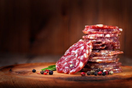 Photo for sausage on a wooden table - Royalty Free Image