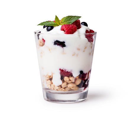 Photo for yogurt with muesli and berries on white background - Royalty Free Image