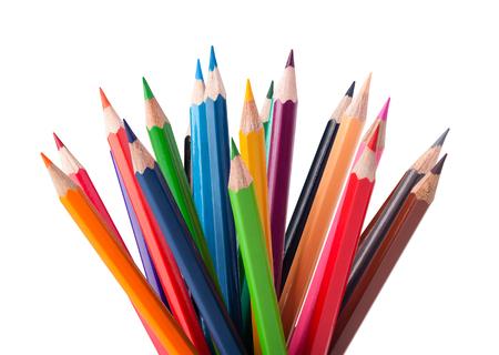 Photo pour Colour pencils isolated on white background - image libre de droit