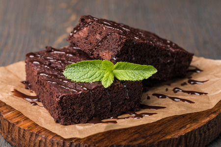 Photo for chocolate cake on a wooden table - Royalty Free Image
