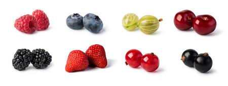 Foto de Fresh berries set isolated on white background. - Imagen libre de derechos