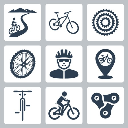 bicycling, cycling icons set