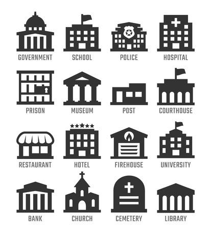 Foto de Government buildings vector icon set - Imagen libre de derechos