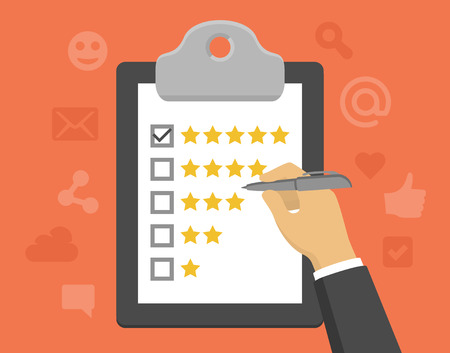 Photo pour Vector customer feedback concept in flat style - clipboard and hand checking five stars mark on it - image libre de droit