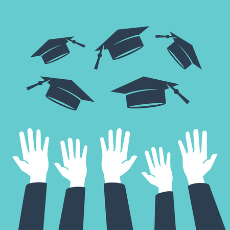 Concept of education, hands of graduates throwing graduation hats in the air