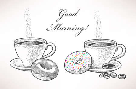 Illustration pour Hand drawn illustration of coffee and donuts - image libre de droit