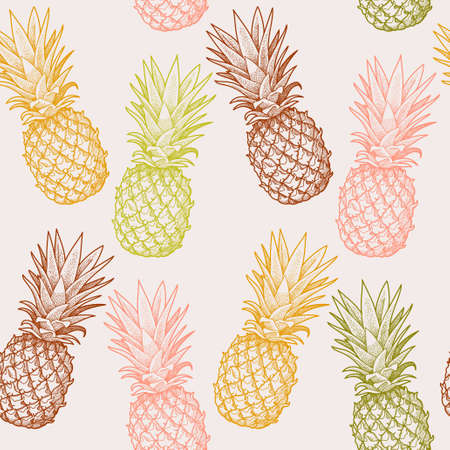Illustration pour Hand drawn colorful pineapples seamless vector background - image libre de droit
