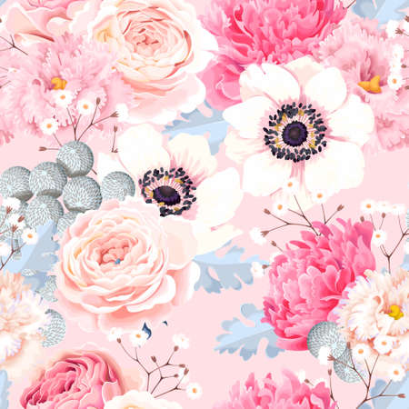 Illustration pour Seamless pattern with anemones and roses - image libre de droit