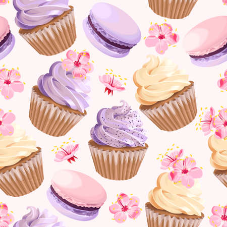 Illustration for Seamless cupcakes and flowers Vector illustration. - Royalty Free Image
