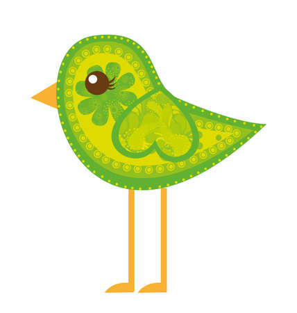 green cute bird with ornaments isolated over white background. vector