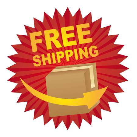 red free shipping tag with box and arrow vector illustration