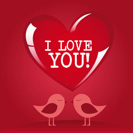 Photo pour I love you message on red heart with lovely birds - image libre de droit