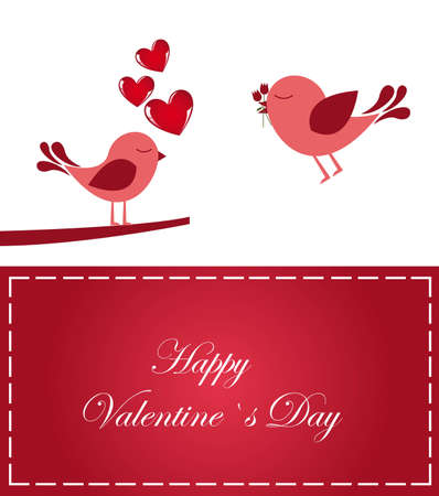 Valentines day card with loving birds, vector illustration