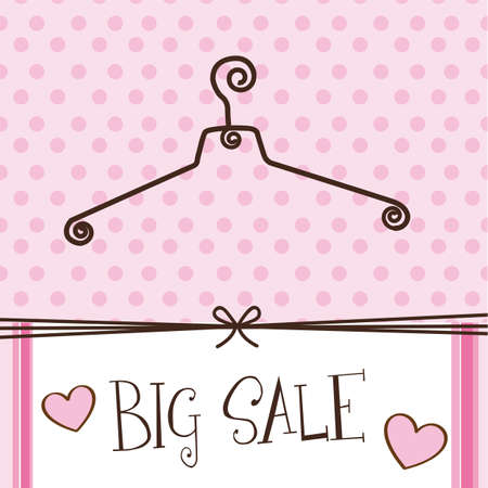 Foto de cute hanger with big sale text over pink background. - Imagen libre de derechos