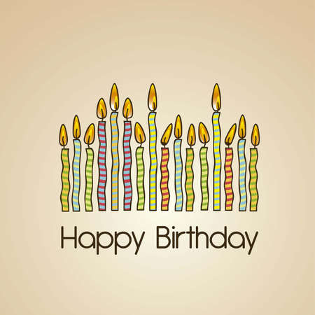 vintage birthday card with colored candles, vector illustration