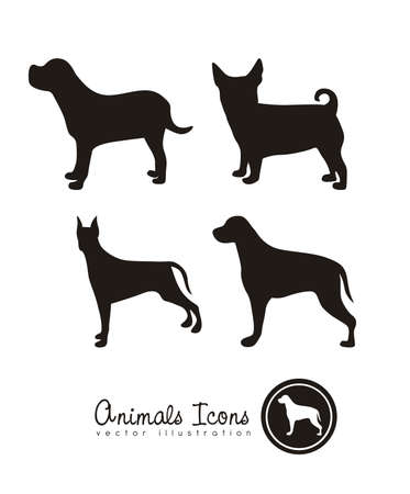 Illustration of animal icons, icons with animal silhouettes. vector illustration