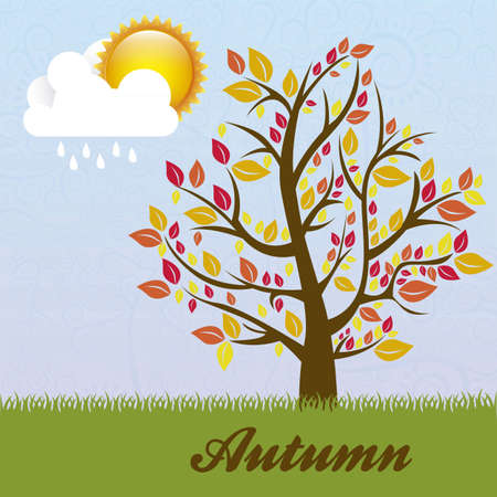 Season Icon. Season cloud, with sun, rain, and tree. vector illustration