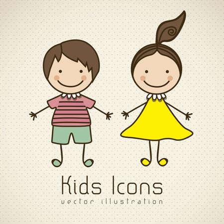 Illustration for Illustration of kids icons, kids groups, vector illustration - Royalty Free Image
