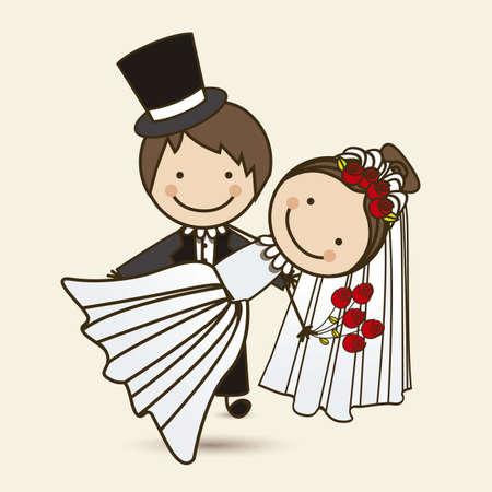 Illustration of wedding couple with wedding dress, vector illustration