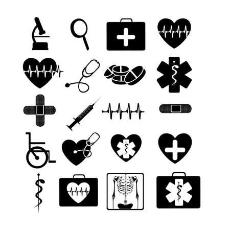 Illustration for medicals icons monochrome over white background vector illustration  - Royalty Free Image