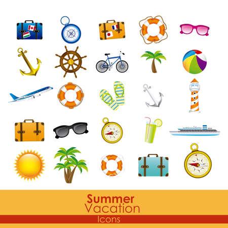 Ilustración de summer vacation icons over orange background vector illustration  - Imagen libre de derechos