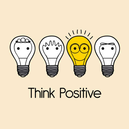 Ilustración de think positive over pink  background vector illustration - Imagen libre de derechos
