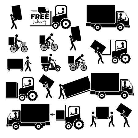 Illustration pour delivery icons over white background vector illustration  - image libre de droit