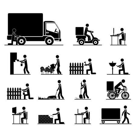 Illustration pour jobs icons over white background vector illustration  - image libre de droit
